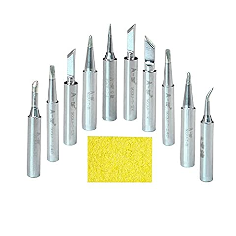 A-BF 10pcs 900M-T Soldering Iron Tips Silver for Hakko, TENMA, ATTEN, QUICK, Aoyue, Yihua, Maplin, ABF Soldering Station, Soldering Gun, Solder Tips with Cleaning