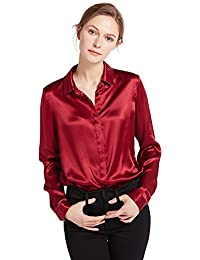 80647fc168d15d LILYSILK Women's Charmeuse Silk Blouse Long Sleeve Ladies Top Shirt 100%  Pure 22 Momme Grade