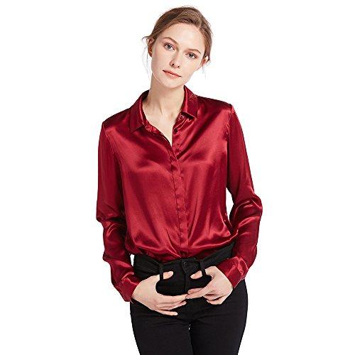 Button-down-bluse Aus Seide (LILYSILK Damen Hemdbluse Seide Sommerliche Damenbluse Shirt mit Verdeckter Knopfleiste von 22 Momme (Weinrot, L))