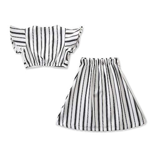 Tick Tocking Kleinkind Mädchen Striper Top T-Shirt + Rock Set Outfit