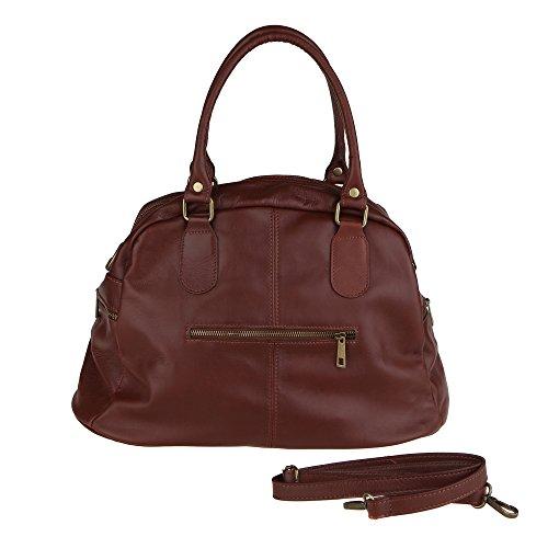 Chicca Borse Frau Handtasche mit Schultergurt aus echtem Leder Made in Italy 47x29x21 Cm Braun