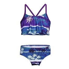 YiZYiF 2 PCS Costume da Mare Bambina Ruffle Bikini Set Top Volant Slip Set Stampa Palma Floreale Costume da Bagno Intero Beachwear Estivo Spiaggia Swimwear Spalline Bimba