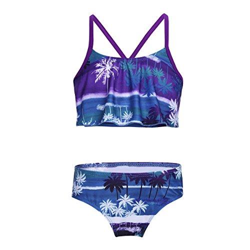 Tiaobug Mädchen Bikini Tankini Set Bustier Rüschen Oberteil mit Brazilian Slip Tropische Blätter Allover Print Bademode Schwimmanzug gr. 98-152 Lila&Blau 122-128