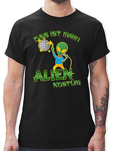 Karneval & Fasching - Das ist Mein Alien Kostüm Disco - XXL - Schwarz - L190 - Herren T-Shirt und Männer Tshirt (Basic Alien Kostüm)