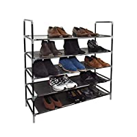 Vinsani 5 Tier for 25 Pair of Shoes Rack Furniture Storage Organizer Stand Adjustable Shelf - 88 x 91 x 28 cm