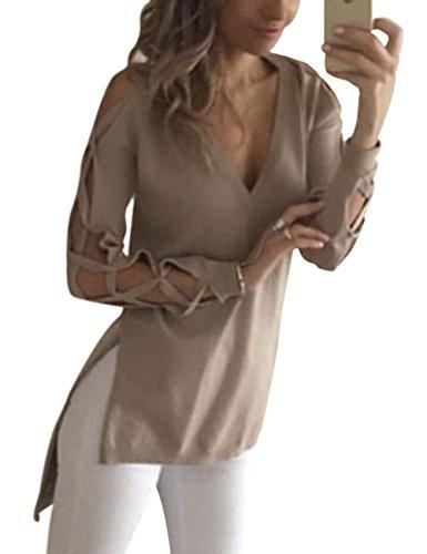Yidarton Damen Langarmshirt V-neck Hollow Out Irregular Hem Klassische Baumwoll Top Schluppen T-Shirt mit Streifenärmeln (L, Khaki)