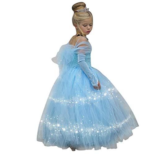 Livoral Maschenbabyprinzessin-Brautjungfernschönheitskleidgeburtstagsfeier-Hochzeitskleid(Blau,18-24 Months)