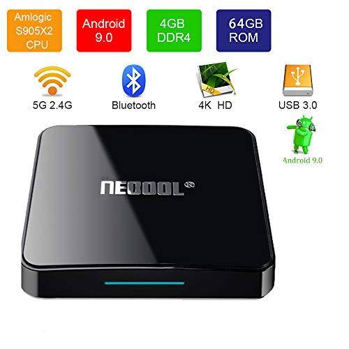 YEARYOWN TV Box Android 9.0 4K TV Box/Remote Voice / DDR4 / 4 GB / 64 GB Media Player, Zertifiziert von Google / 2.4G und 5G, unterstützt WLAN