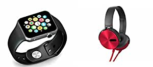 MIRZA Smart Watch & Extra Bass XB450 Headphones for SAMSUNG W 2016(Bluetooth Headset & Bluetooth A1 Smart Watch Wrist Watch Phone with Camera & SIM Card Support Hot Fashion New Arrival Best Selling Premium Quality Lowest Price with Apps like Facebook,Whatsapp, Twitter, Sports, Health, Pedometer, Sedentary Remind & Sleep Monitoring, Better Display, Loud Speaker, Microphone, Touch Screen, Multi-Language, Compatible with Android iOS Mobile Tablet-Assorted Color)