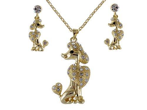 Alilang Gold Pudel Show Hund Swarovski Klar Crystal Strass Ohrring Halsketten Set