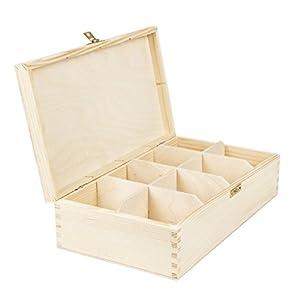 Boîte à thé en bois 8 compartiments fermeture Boite en bois naturel 28,5 x 16,5 x 8 cm