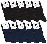 Burnell & Son 10 Paar PREMIUM Socken aus fein gewobener Baumwolle | Damen & Herren | Business | verschiedene Farben | bequemer Komfortbund, 43/46, Schwarz/Marineblau