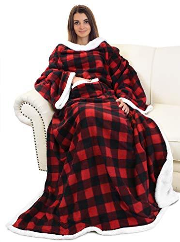 Catalonia Sherpa tragbare Decke mit Ärmeln und Armen, super weich, warm, bequem, große Fleece-Plüsch-Überwürfe, für Erwachsene Frauen und Herren, Rot kariert