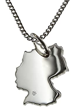 50cm Halskette + Deutschland Anhänger mit einem Brillant 0,015ct an Ihrem Wunschort in 925 Silber