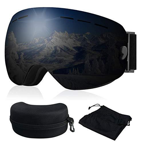 Skibrille, Ski Snowboardbrille Brillenträger Schneebrille Verspiegelt- Für Skibrillen mit Anti-Nebel UV-Schutz, Winter Schnee Sport, Austauschbar Sphärische Doppelte Linse für Männer Frauen(Schwarz)