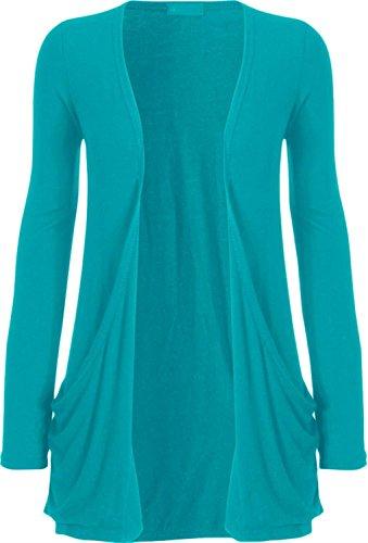Nouveaux Femmes Grande Taille manches longues de base ordinaire Cardigan Top 36-54 Turquoise
