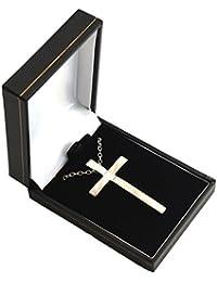 Plata tono Cruz–colgante de cruz Simple collar en caja de regalo
