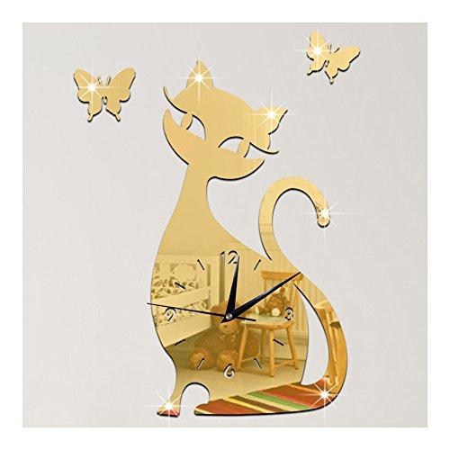 Espejo del Reloj de pared pega gato color oro