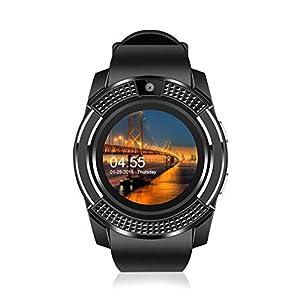 AUOKP Smart Uhren Armband Für Männer Und Frauen Band Bluetooth Uhr Fitness Tracker Smartwatch Mit Hd Touchscreen Android Ios, Schwarz