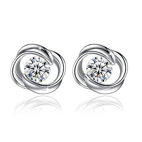 Fashmond- Boucles d'oreilles fleur enlacé- Argent fin 925 et pierre en oxyde de zirconium- Idée Cadeau