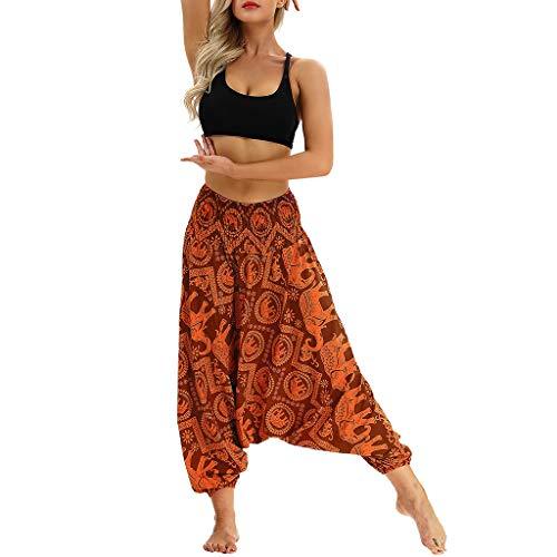 YWLINK 2019 Damen Kleidung,Frauen BeiläUfige Sommer Lose Yoga Hosen Elegant Baggy Boho Aladdin Overall Pluderhosen (Herren Velour Jogger)