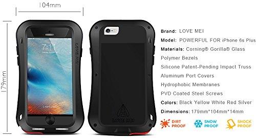Love Mei Schutzhülle für Apple iPhone 6S + (iPhone 6S Plus), [Kurve Stil] Wasserdicht Stoßfest Staubdicht Aluminium Metall mit Gorilla Glas Cover * 2Jahre Garantie * gelb