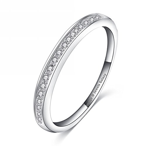 Jewels Galaxy Luxuria Platinum Plated Simple Style Tiny Zirconia Inlayed Ring For Women/Girls (7)