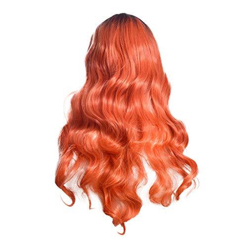 Scholieben parrucca donna capelli veri bionda corta rosa lunga,parrucche sintetiche ricce ondulate ondulate parrucca arancione sfumata lunga ragazza sexy delle donne calde