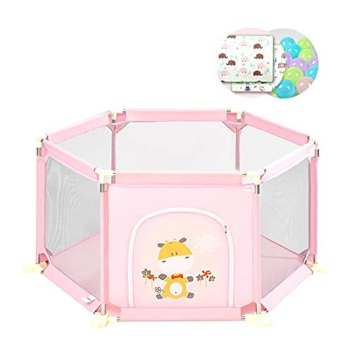 Laufgitter Baby Mädchen Spiel Yard Kleinkind Zaun 6-Panel Sicherheitsspiel Zaun Indoor-Spielplatz Mit Krabbeln Und Bälle - Baby-mädchen-spiel-yard