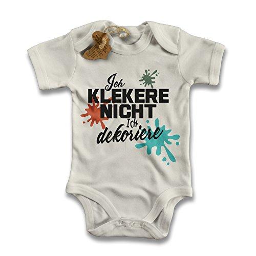 net-shirts Organic Baby Body mit ICH KLECKERE NICHT ICH DEKORIERE Aufdruck Spruch lustig Strampler Babybekleidung aus Bio-Baumwolle mit Zertifikat, Größe 12-18 Monate, natur