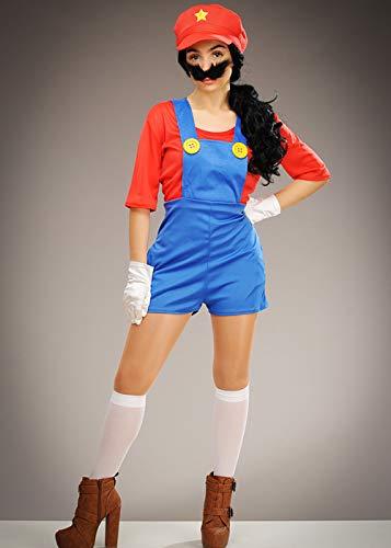 Kostüm Womens Klempner - Magic Box Int. Womens Mario Style Super Klempner Mädchen Kostüm Small (UK 8-10)