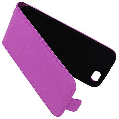 ebestStar - pour Apple iPhone 5C - Housse Coque Etui à rabat PU cuir ULTRA FIN (ultra slim case) + Film protection écran en VERRE Trempé, Couleur Noir [Dimensions PRECISES de votre appareil : 124.4 x  Violet