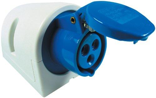 REV CEE Wandsteckdose 3-polig 16A 230V~ – Made in Europe ǀ CEE Steckdose Aufputz für Industrie Handwerk Boot Caravan Camping ǀ Farbe: blau