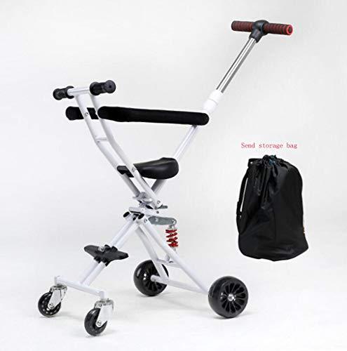 Faltbarer Slip für Kinderwagen mit einem Knopf für Kinder Artefakt, tragbarer Klappkinderwagen für den Rucksack mit dreirädigem Bremstrolley (Farbe : Weiß) (Kunststoff-knopf, Muttern)