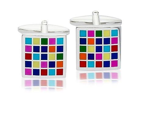 Code Red Enamel Multicoloured Checkerboard Base Metal Cufflinks