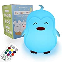 Night Light for Kids with Remote & Touch Control 9 Colours - BONNYCO | Nursery Lamp with Timer | Baby Night Light Silicone 100% BPA Free | Kids Lamp Cute Gifts for Boys and Girls