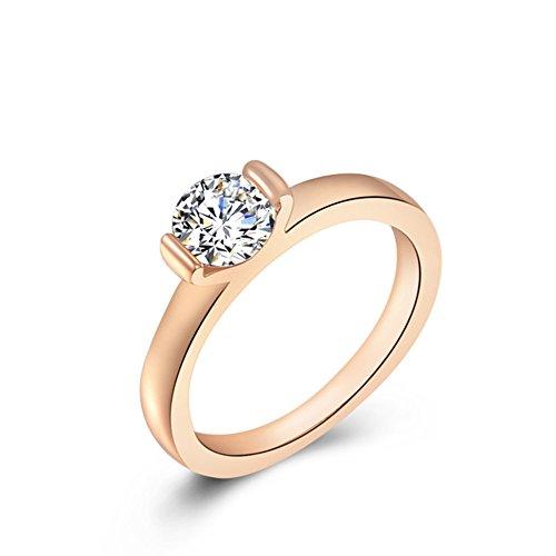 Bling Jewelry Donna Cristallo singolo Sparkle placcato platino/oro rosa anello di fidanzamento, 18ct placcato oro rosa, 19,5, cod. 1010035240