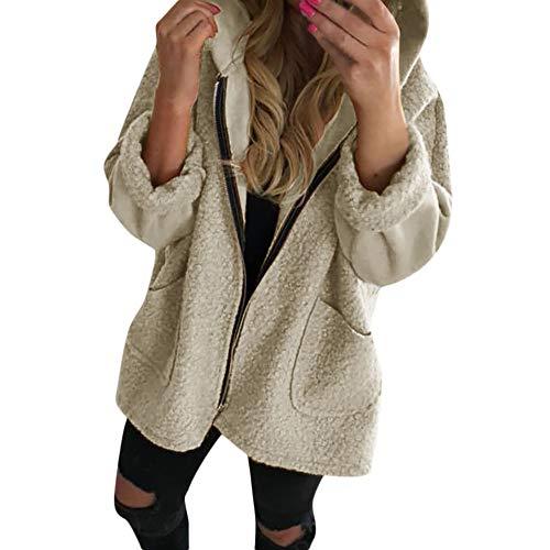 Luckycat Frauen mit Kapuze Langarm Reißverschluss Pullover Bluse Shirts Mantel Sweatshirt Jacken Mäntel Sweatjacke Winterjacke Fleecejacke Steppjacke