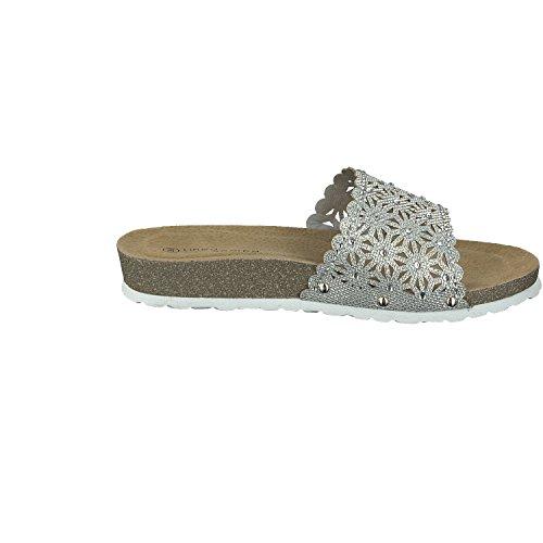 Linea Scarpa Genua Pantolette Damen Korkoptik Ultraleicht Silber