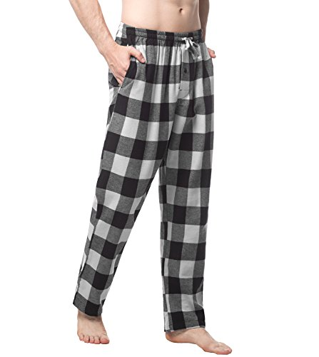 Lapasa Herren Garn gefärbt gewebte Flanell Sleep Lounge Pant M39 (XL, Schwarz-Grau-Plaid) (Gute Lounge-hose)