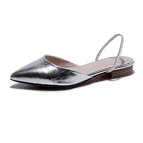 Cuir Pointe Toe Simple Glisser sur Des sandales Grande taille Pouvez Être Personnalisé Appartements Danse Mariage Chaussures , silver , 35