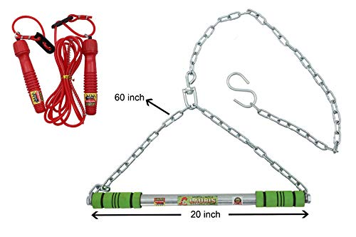 Lauris Combo Height Increase bar, Pull up bar, pul up bar with Chain for Home use, of Length 20 inches zinc Plated with Chain with Adjustable Skipping Rope