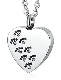 533f456fe1db Epinki Acero inoxidable Mascota Huella Zirconia cúbica Corazón Urna Collar  para Cenizas Memorial Recuerdo