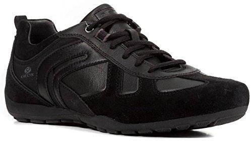 Geox U843FA Uomo Ravex Sportlicher Herren Sneaker, Schnürhalbschuh, Freizeitschuh, Atmungsaktiv Schwarz (Black), EU 46