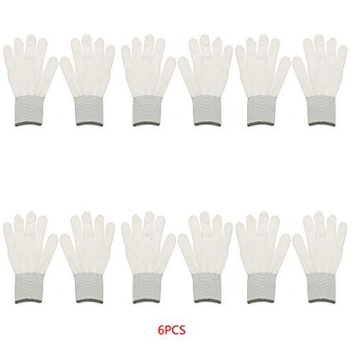 Demino - 6 Pares de Guantes de algodón para Envolver el Coche, Adhesivos de Vinilo para el Lugar de Trabajo, Guantes de protección de Seguridad, Color Blanco, 20,5 x 10 cm