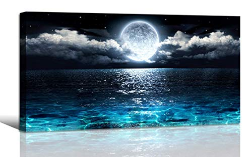 SWDCA Seashell 5 Panels Seascape Giclée-Druck auf Leinwand Landschaftsbilder Gemälde auf moderner, gestreckter und gerahmter Leinwand Wandkunst Sea Beach Pictures Artwork for Home Decor