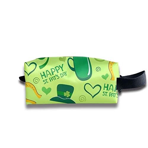 Happy St.Patrick's Day Hut, Tasse, herzförmige Kosmetiktasche Organizer Travel Kosmetiktasche für Frauen Männer