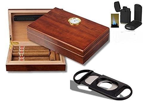 Humidor - Geschenkset Polymerbefeuchter, Cutter, Feuerzeug inkl. Lifestyle-Ambiente Tastingbogen