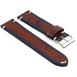 DASSARI Kingwood Extra Long Italian Leather Hand Finished Vintage Watch Strap w/ Minimal Stitching in Mahogany 21mm