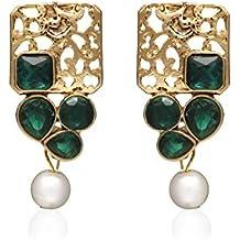 Zaveri Pearls Green Non-Precious Metal Stud Earing For Women